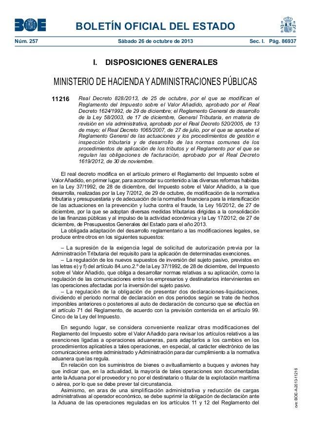 BOLETÍN OFICIAL DEL ESTADO Núm. 257  Sábado 26 de octubre de 2013  Sec. I. Pág. 86937  I. DISPOSICIONES GENERALES  MINI...