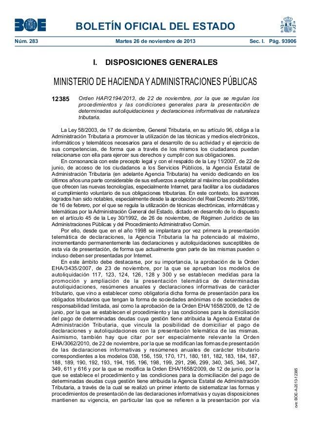BOLETÍN OFICIAL DEL ESTADO Núm. 283  Martes 26 de noviembre de 2013  Sec. I. Pág. 93906  I. DISPOSICIONES GENERALES  MI...