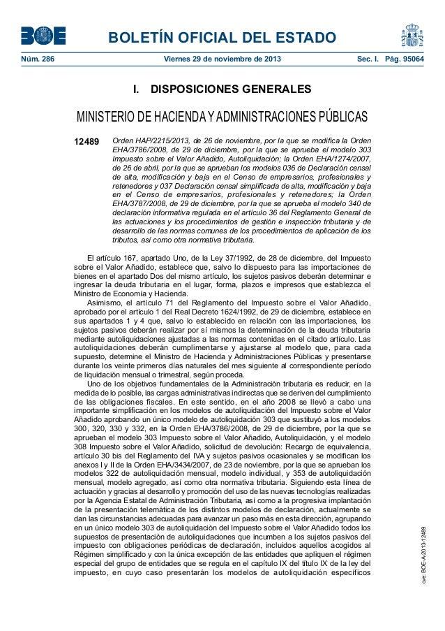 BOLETÍN OFICIAL DEL ESTADO Núm. 286  Viernes 29 de noviembre de 2013  Sec. I. Pág. 95064  I. DISPOSICIONES GENERALES  M...
