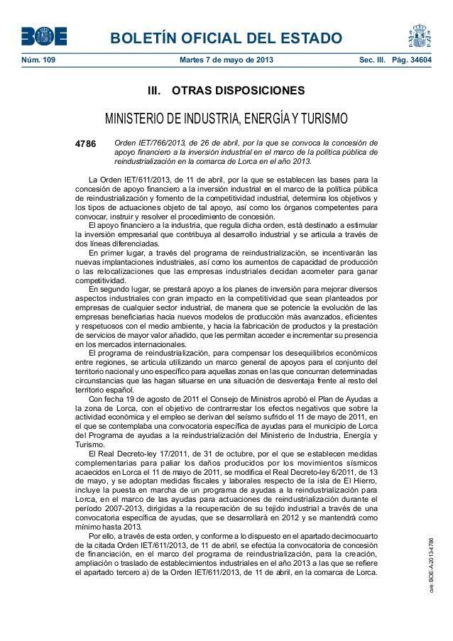 BOLETÍN OFICIAL DEL ESTADONúm. 109 Martes 7 de mayo de 2013 Sec. III. Pág. 34604III. OTRAS DISPOSICIONESMINISTERIO DE I...