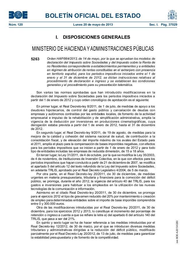 BOLETÍN OFICIAL DEL ESTADONúm. 120 Lunes 20 de mayo de 2013 Sec. I. Pág. 37029I. DISPOSICIONES GENERALESMINISTERIO DE H...