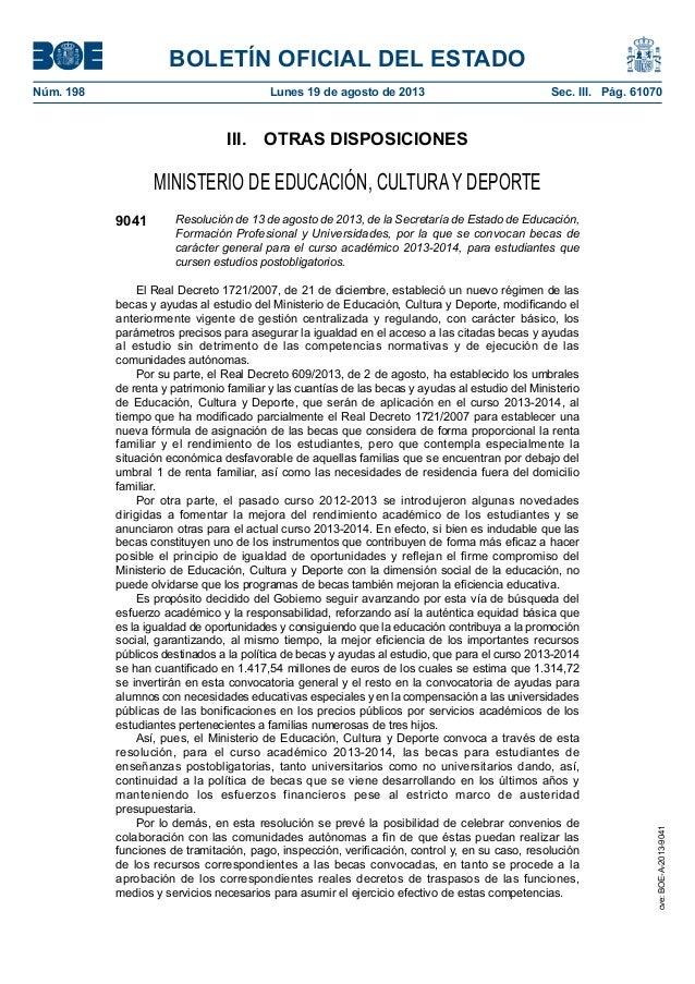 BOLETÍN OFICIAL DEL ESTADO Núm. 198 Lunes 19 de agosto de 2013 Sec. III. Pág. 61070 III. OTRAS DISPOSICIONES MINISTERIO...