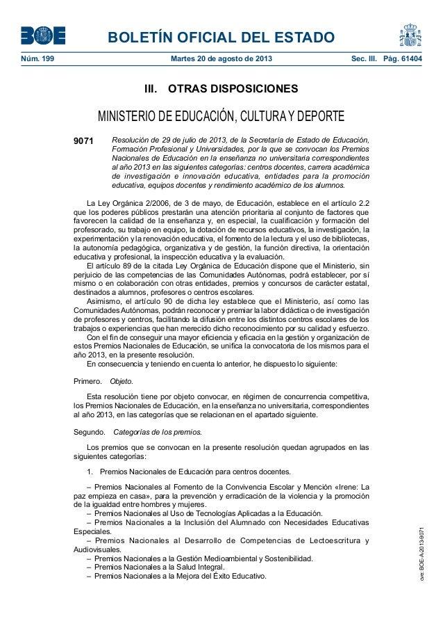 BOLETÍN OFICIAL DEL ESTADO Núm. 199 Martes 20 de agosto de 2013 Sec. III. Pág. 61404 III. OTRAS DISPOSICIONES MINISTERI...