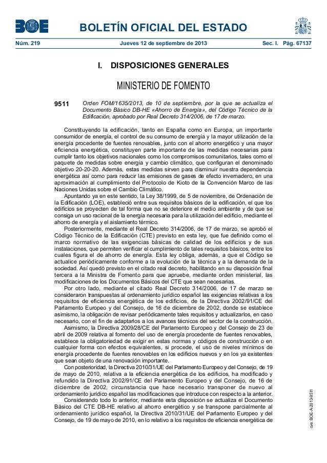BOLETÍN OFICIAL DEL ESTADO Núm. 219 Jueves 12 de septiembre de 2013 Sec. I. Pág. 67137 I. DISPOSICIONES GENERALES MINIS...