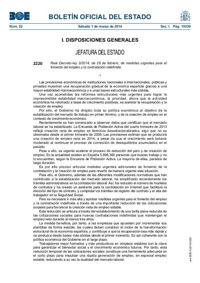 BOLETÍN OFICIAL DEL ESTADO Núm. 52  Sábado 1 de marzo de 2014  Sec. I. Pág. 19339  I. DISPOSICIONES GENERALES  JEFATURA ...