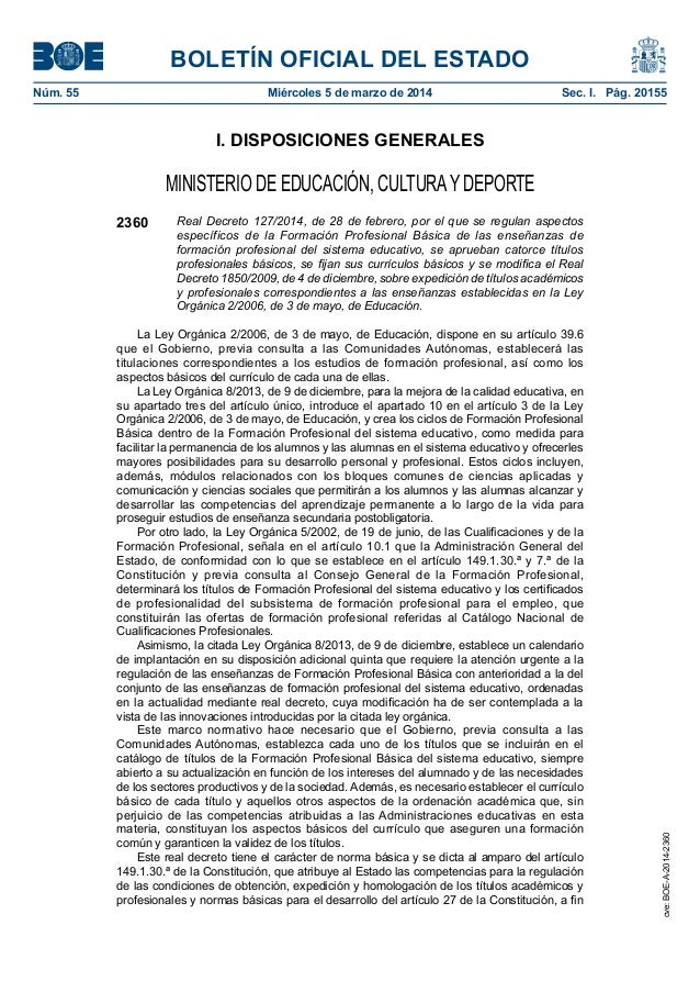 BOLETÍN OFICIAL DEL ESTADO Núm. 55  Miércoles 5 de marzo de 2014  Sec. I. Pág. 20155  I. DISPOSICIONES GENERALES  MINIST...