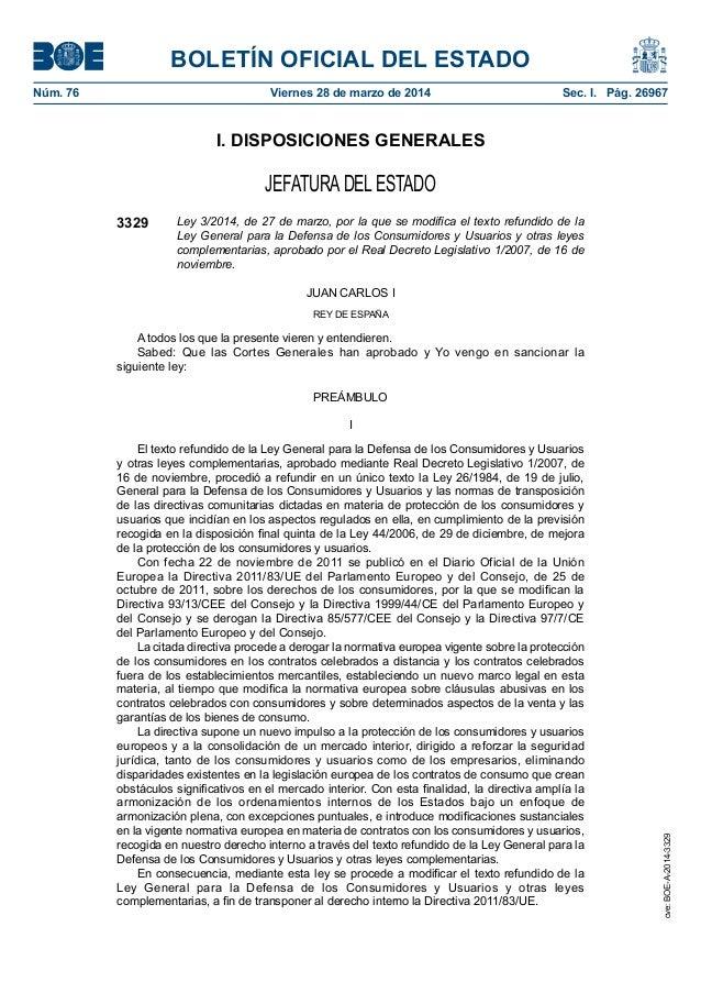 BOLETÍN OFICIAL DEL ESTADO Núm. 76 Viernes 28 de marzo de 2014 Sec. I. Pág. 26967 I. DISPOSICIONES GENERALES JEFATURADEL...