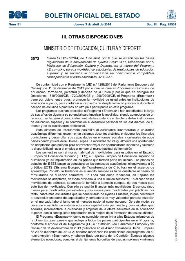 BOLETÍN OFICIAL DEL ESTADO Núm. 81 Jueves 3 de abril de 2014 Sec. III. Pág. 28501 III. OTRAS DISPOSICIONES MINISTERIO DE...