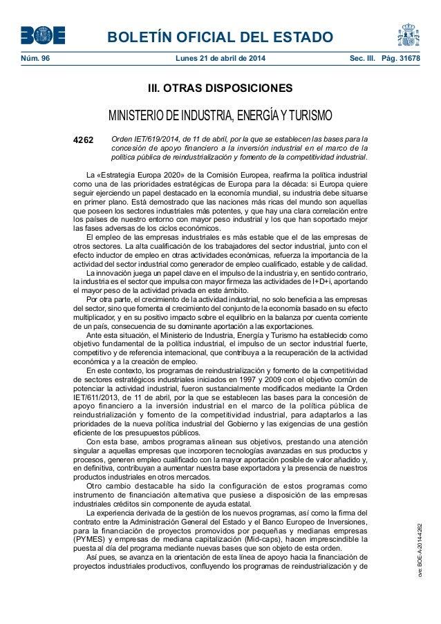 BOLETÍN OFICIAL DEL ESTADO Núm. 96 Lunes 21 de abril de 2014 Sec. III. Pág. 31678 III. OTRAS DISPOSICIONES MINISTERIO DE...