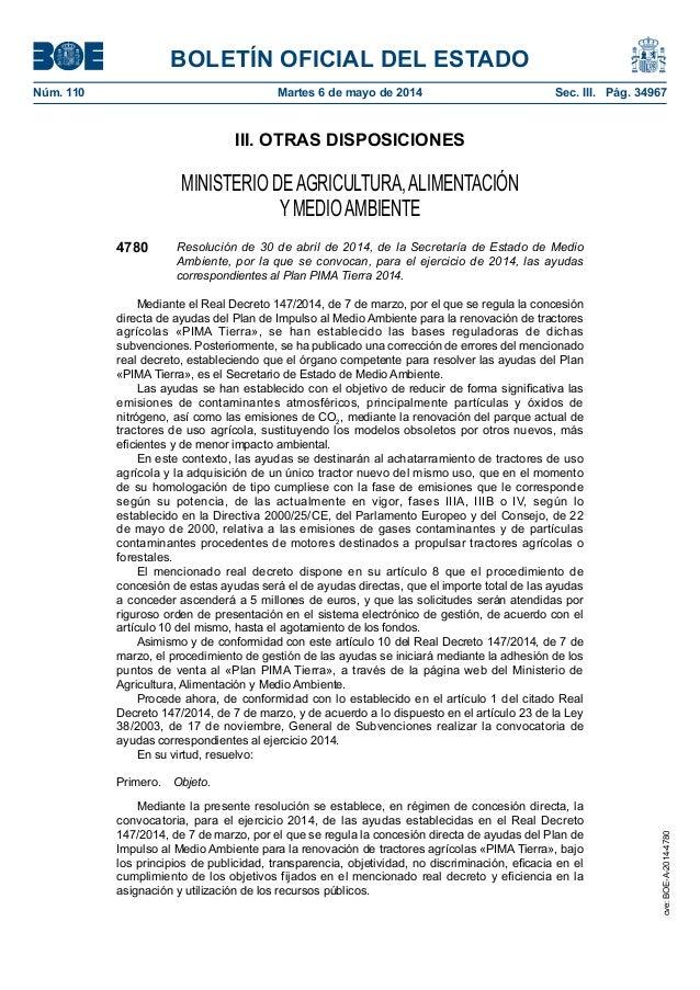 BOLETÍN OFICIAL DEL ESTADO Núm. 110 Martes 6 de mayo de 2014 Sec. III. Pág. 34967 III. OTRAS DISPOSICIONES MINISTERIO DE...
