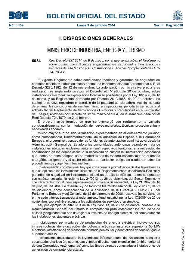 BOLETÍN OFICIAL DEL ESTADO Núm. 139 Lunes 9 de junio de 2014 Sec. I. Pág. 43598 I. DISPOSICIONES GENERALES MINISTERIO DE...