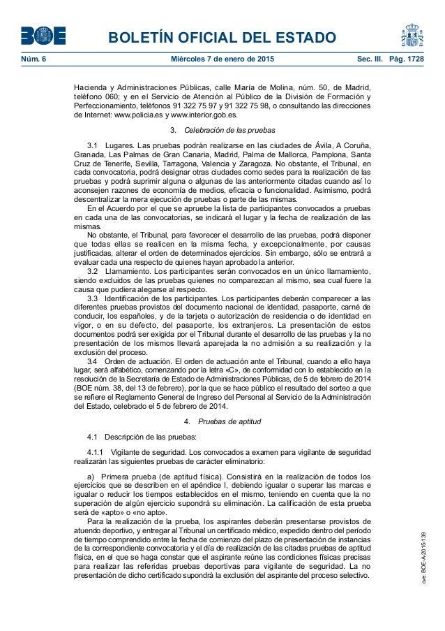Pruebas vigilante de seguridad y especialidades 2015 for Boe ministerio del interior