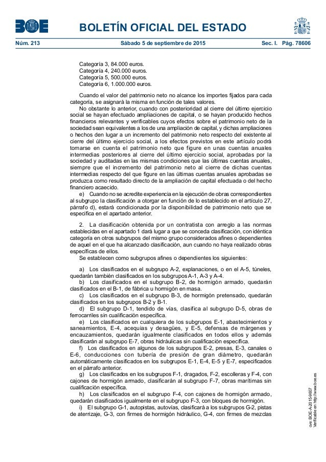 BOLETÍN OFICIAL DEL ESTADO Núm. 213 Sábado 5 de septiembre de 2015 Sec. I. Pág. 78606 Categoría 3, 84.000 euros. Categor...