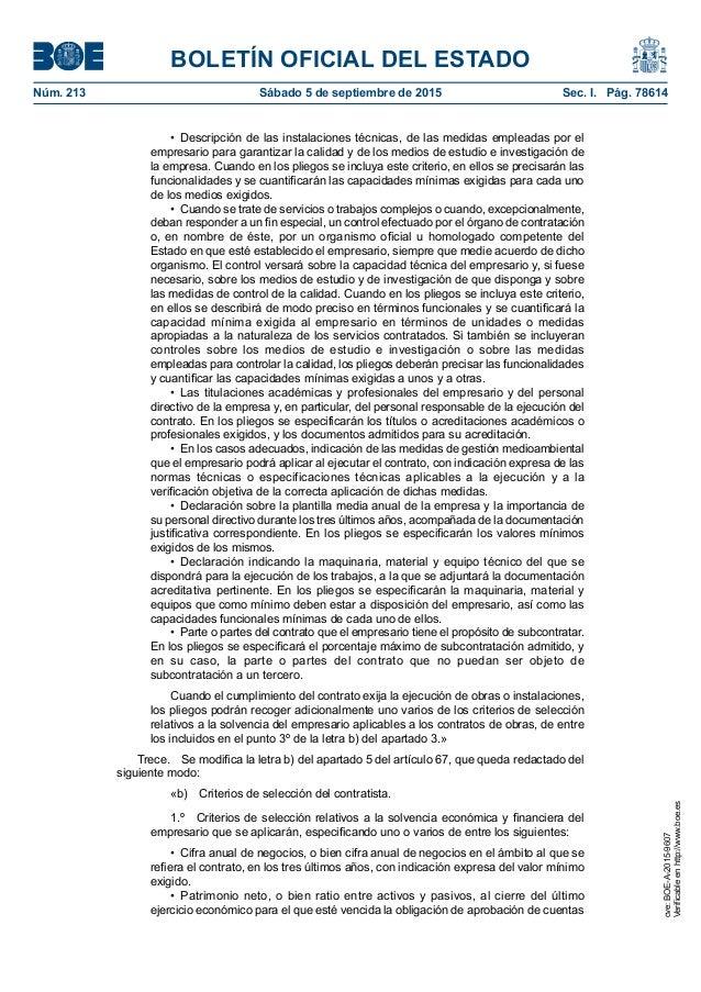 BOLETÍN OFICIAL DEL ESTADO Núm. 213 Sábado 5 de septiembre de 2015 Sec. I. Pág. 78614 • Descripción de las instalacione...