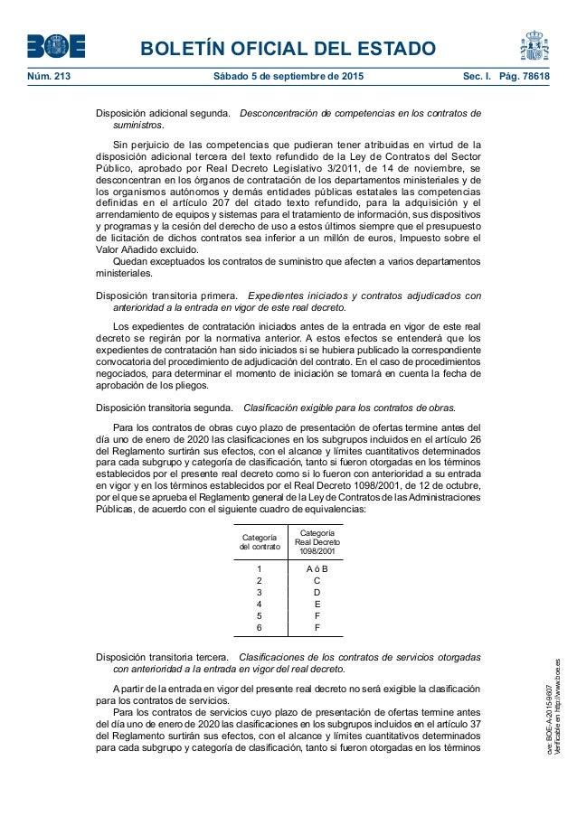 BOLETÍN OFICIAL DEL ESTADO Núm. 213 Sábado 5 de septiembre de 2015 Sec. I. Pág. 78618 Disposición adicional segunda. De...