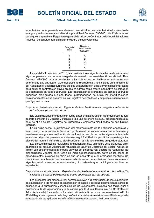BOLETÍN OFICIAL DEL ESTADO Núm. 213 Sábado 5 de septiembre de 2015 Sec. I. Pág. 78619 establecidos por el presente real ...