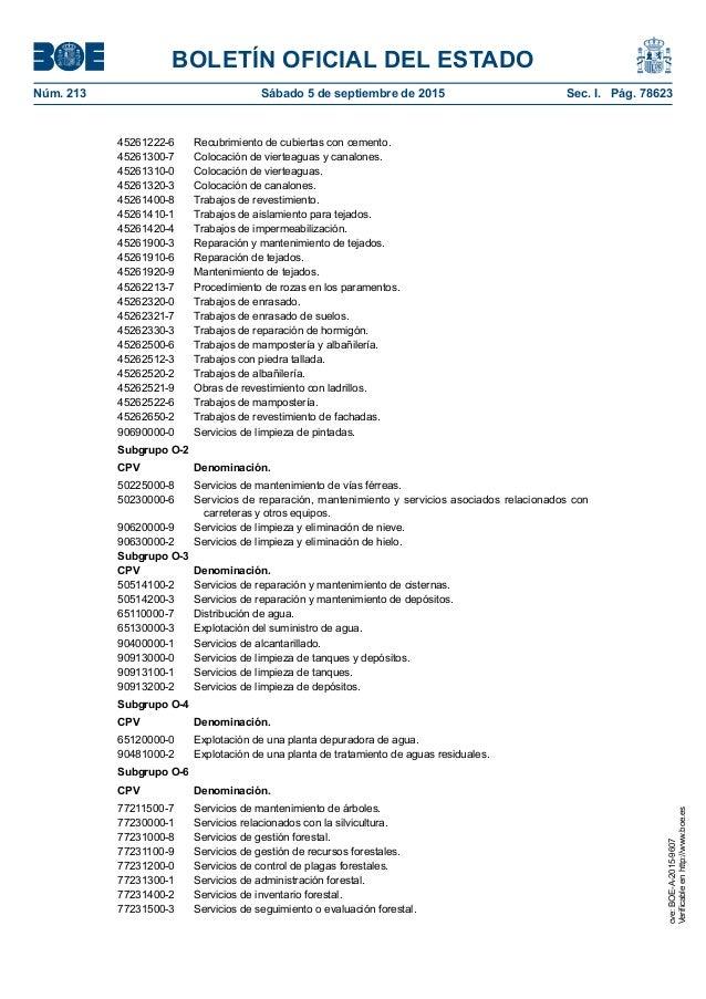 BOLETÍN OFICIAL DEL ESTADO Núm. 213 Sábado 5 de septiembre de 2015 Sec. I. Pág. 78623 45261222-6 Recubrimiento de cubier...