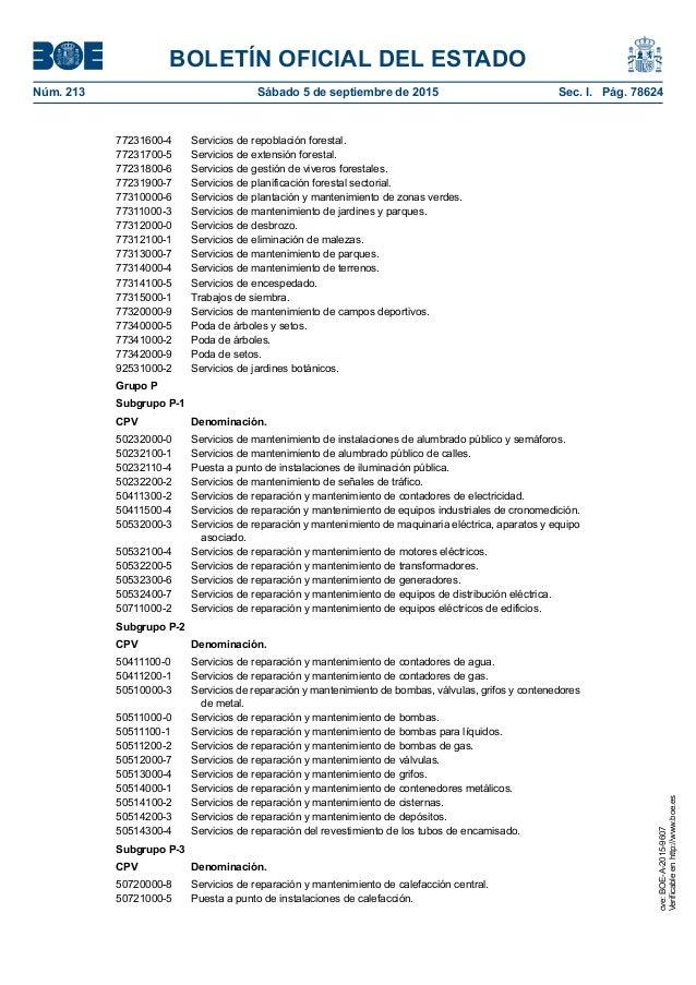 BOLETÍN OFICIAL DEL ESTADO Núm. 213 Sábado 5 de septiembre de 2015 Sec. I. Pág. 78624 77231600-4 Servicios de repoblació...