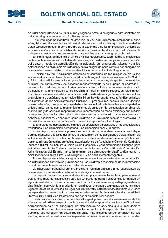 BOLETÍN OFICIAL DEL ESTADO Núm. 213 Sábado 5 de septiembre de 2015 Sec. I. Pág. 78599 de valor anual inferior a 150.000 ...