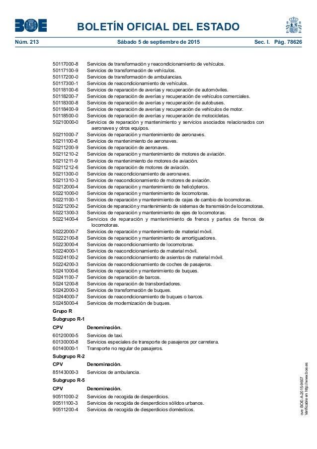 BOLETÍN OFICIAL DEL ESTADO Núm. 213 Sábado 5 de septiembre de 2015 Sec. I. Pág. 78626 50117000-8 Servicios de transforma...