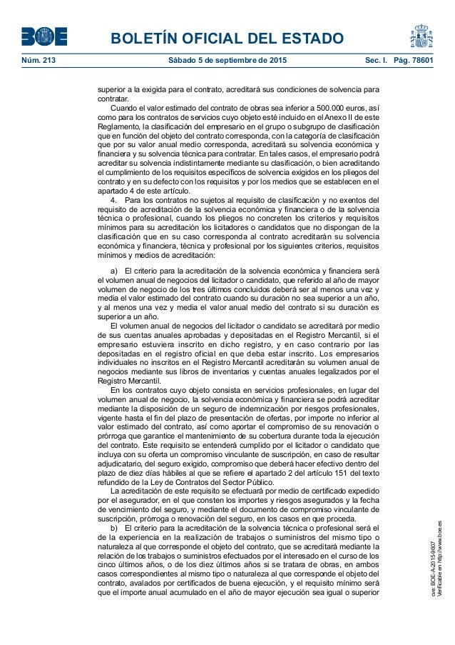BOLETÍN OFICIAL DEL ESTADO Núm. 213 Sábado 5 de septiembre de 2015 Sec. I. Pág. 78601 superior a la exigida para el cont...
