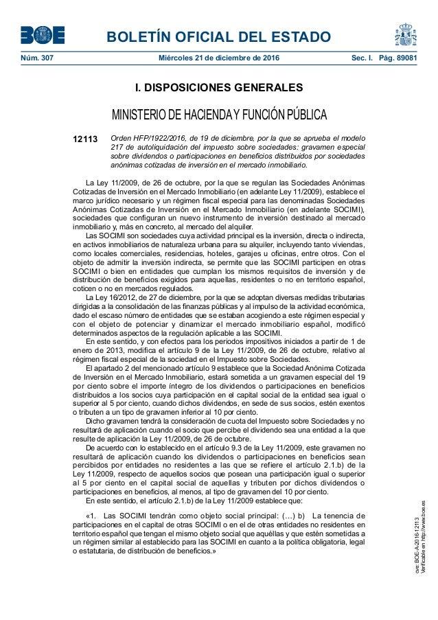 BOLETÍN OFICIAL DEL ESTADO Núm. 307 Miércoles 21 de diciembre de 2016 Sec. I. Pág. 89081 I. DISPOSICIONES GENERALES MINI...