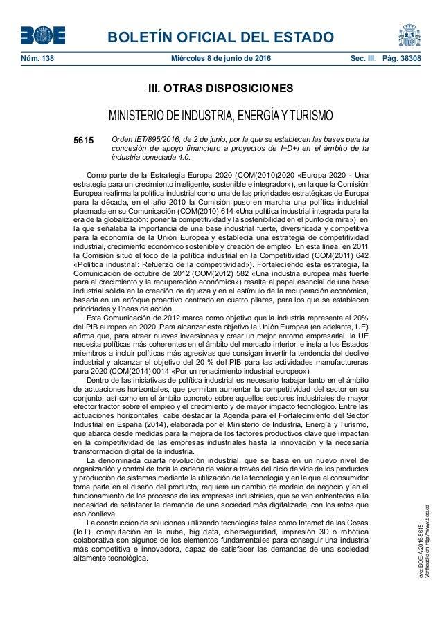 BOLETÍN OFICIAL DEL ESTADO Núm. 138 Miércoles 8 de junio de 2016 Sec. III. Pág. 38308 III. OTRAS DISPOSICIONES MINISTERI...