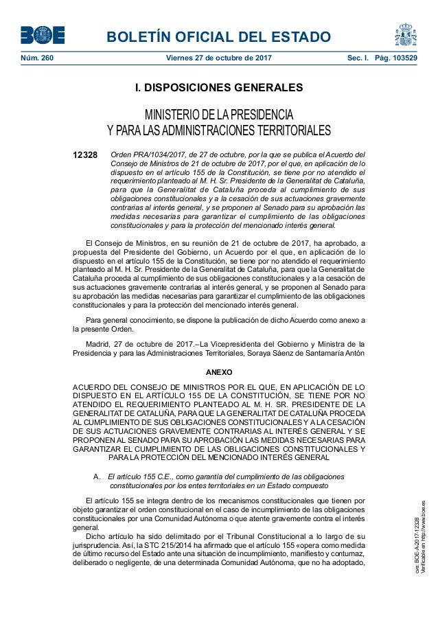 BOLETÍN OFICIAL DEL ESTADO Núm. 260 Viernes 27 de octubre de 2017 Sec. I. Pág. 103529 I. DISPOSICIONES GENERALES MINISTE...