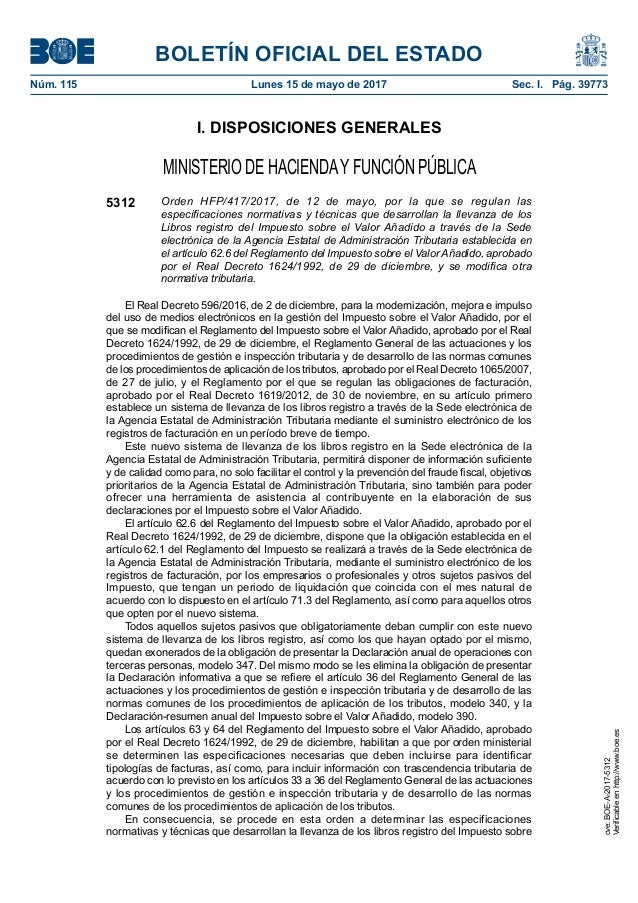 BOLETÍN OFICIAL DEL ESTADO Núm. 115 Lunes 15 de mayo de 2017 Sec. I. Pág. 39773 I. DISPOSICIONES GENERALES MINISTERIO DE...