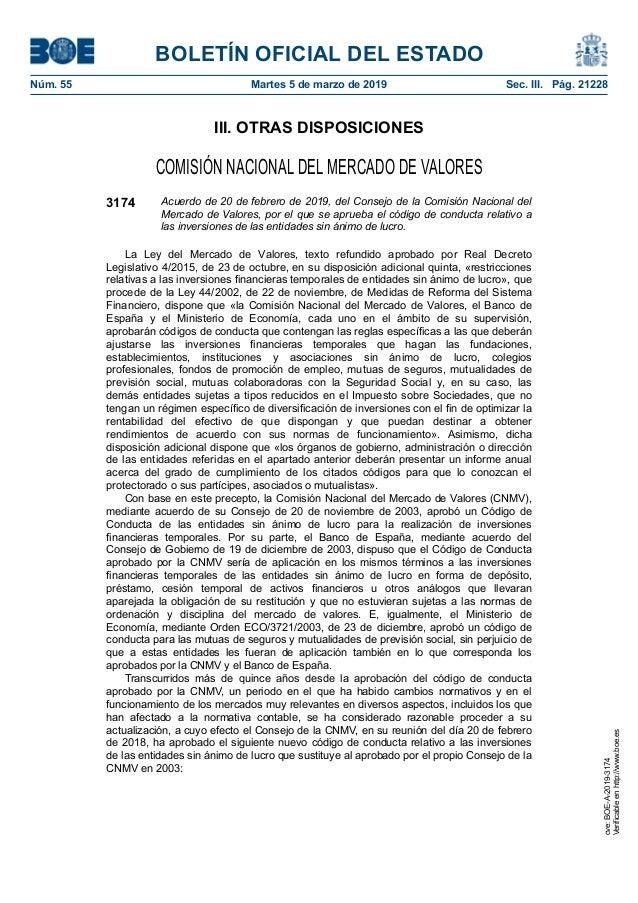 III. OTRAS DISPOSICIONES COMISIÓN NACIONAL DEL MERCADO DE VALORES 3174 Acuerdo de 20 de febrero de 2019, del Consejo de la...