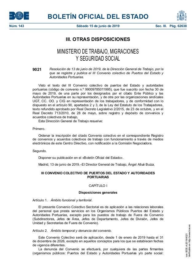 Eed El Boe Publica El Nuevo Convenio De Puertos