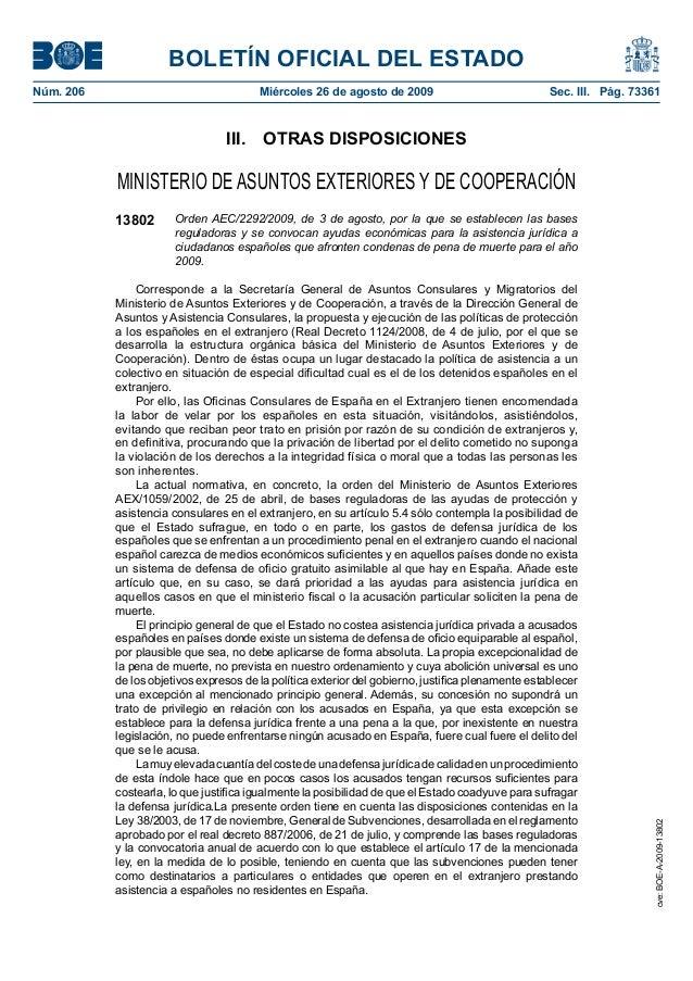 BOLETÍN OFICIAL DEL ESTADO Núm. 206 Miércoles 26 de agosto de 2009 Sec. III. Pág. 73361 III. OTRAS DISPOSICIONES MINIST...