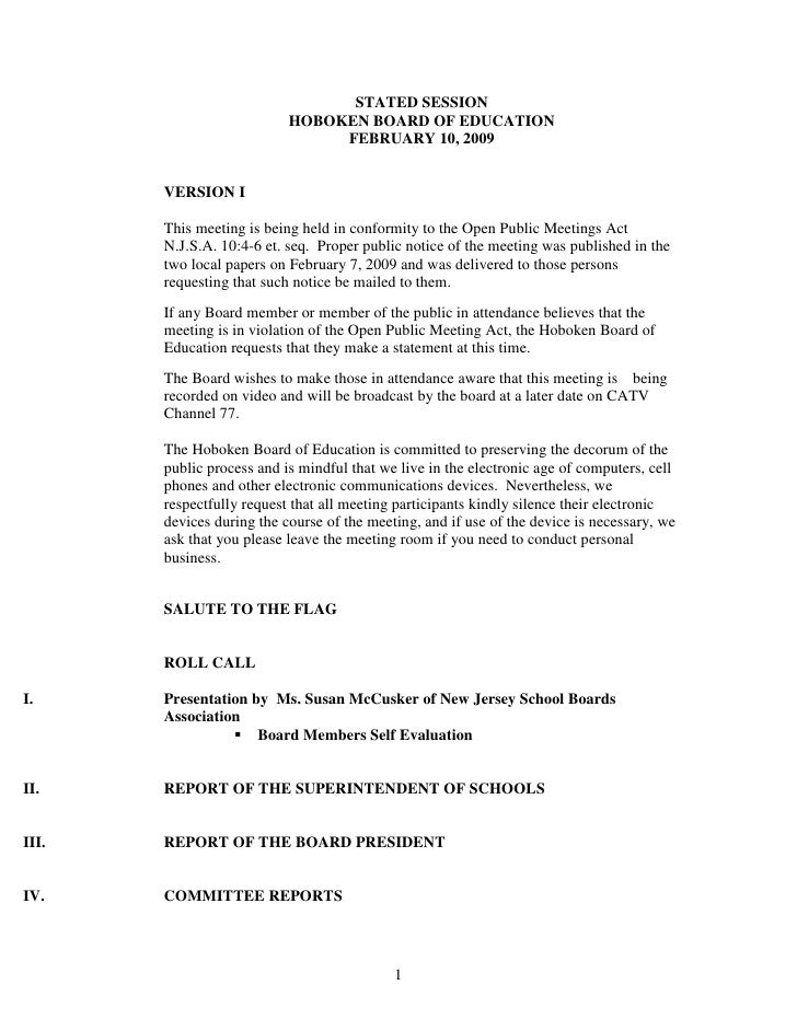 STATED SESSION                            HOBOKEN BOARD OF EDUCATION                                 FEBRUARY 10, 2009    ...