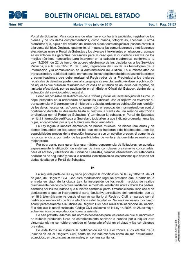 Boe ley reforma administraci n justicia y registro for Registro de bienes muebles madrid