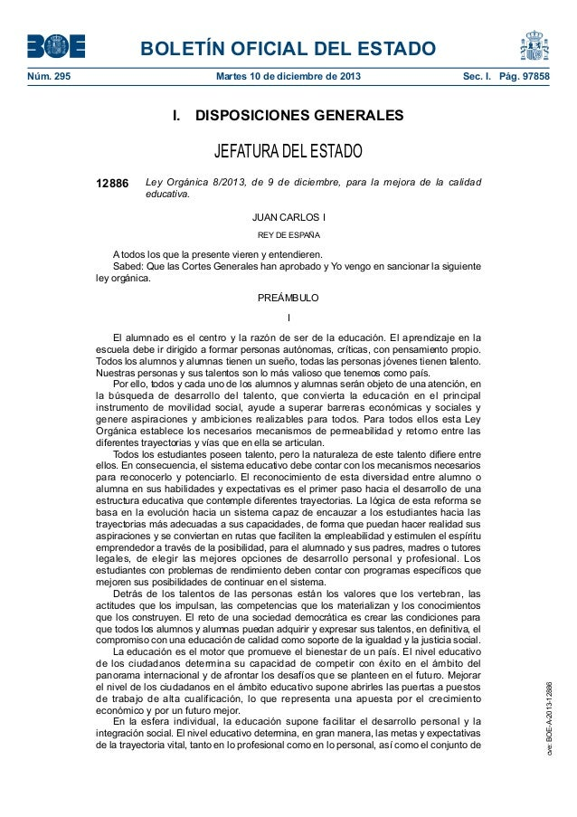 BOLETÍN OFICIAL DEL ESTADO Núm. 295  Martes 10 de diciembre de 2013  Sec. I. Pág. 97858  I. DISPOSICIONES GENERALES  JE...