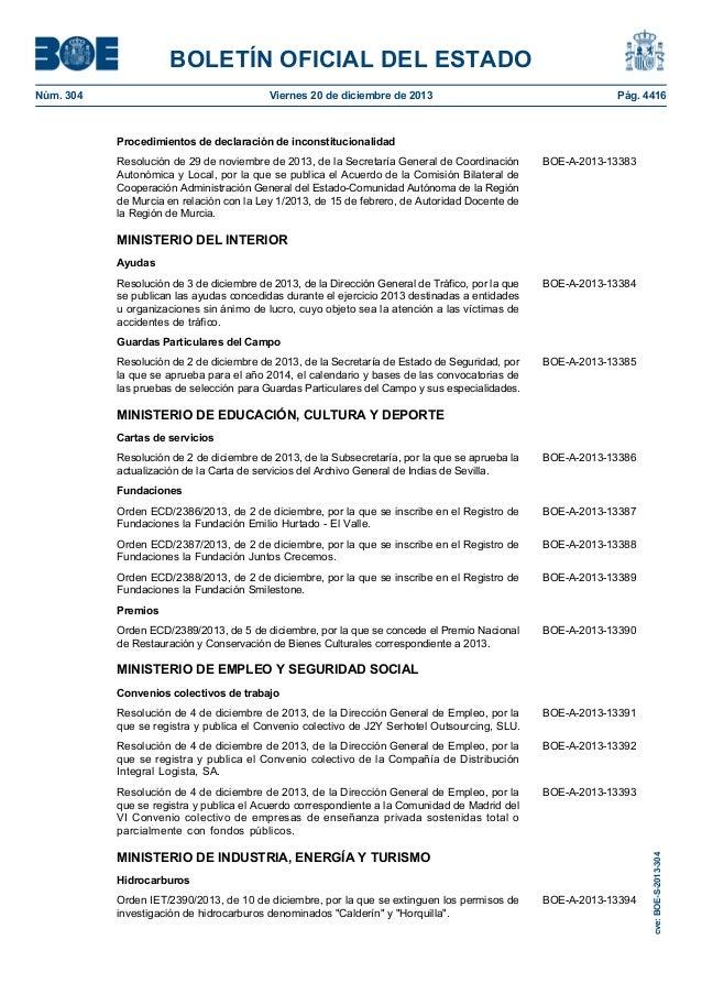Boe s 2013 304 for Boe ministerio del interior