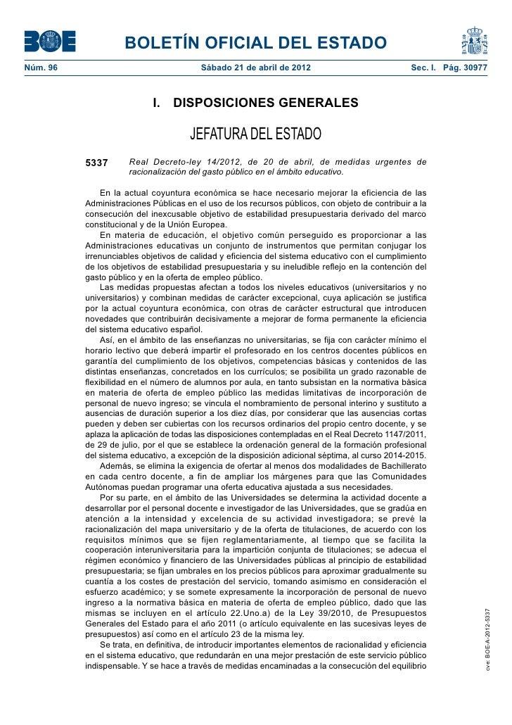 BOLETÍN OFICIAL DEL ESTADONúm. 96                                  Sábado 21 de abril de 2012                           ...