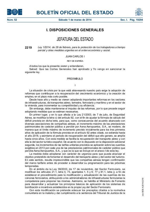 BOLETÍN OFICIAL DEL ESTADO Núm. 52 Sábado 1 de marzo de 2014 Sec. I. Pág. 19294 I. DISPOSICIONES GENERALES JEFATURADEL E...
