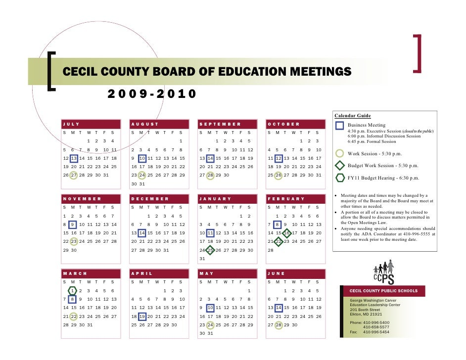 CECIL COUNTY BOARD OF EDUCATION MEETINGS                         2009-2010                                                ...