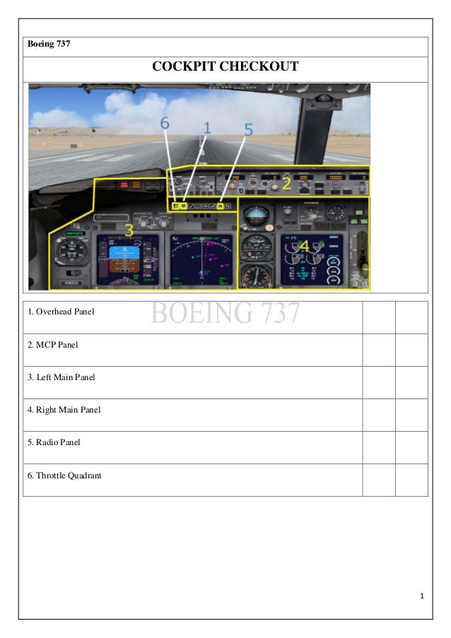 1 Boeing 737 COCKPIT CHECKOUT 1. Overhead Panel 2. MCP Panel 3. Left Main Panel 4. Right Main Panel 5. Radio Panel 6. Thro...