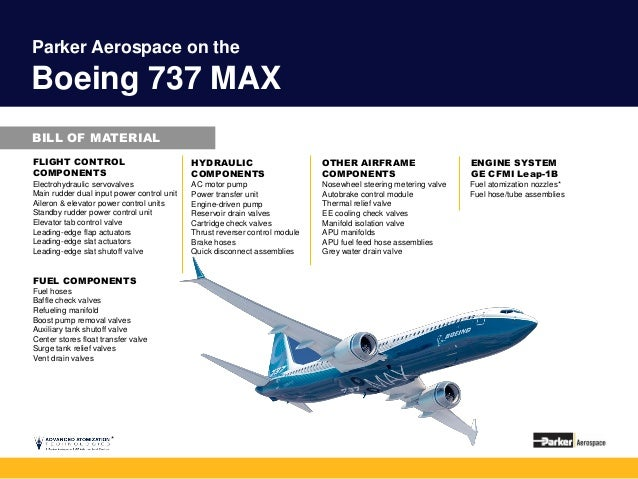 Parker Aerospace Bill Of Material For Boeing Airplane