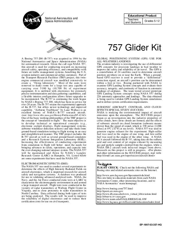 757 Glider Kit Educational Product Teachers and Students Grades 5-12 National Aeronautics and Space Administration EP-1997...