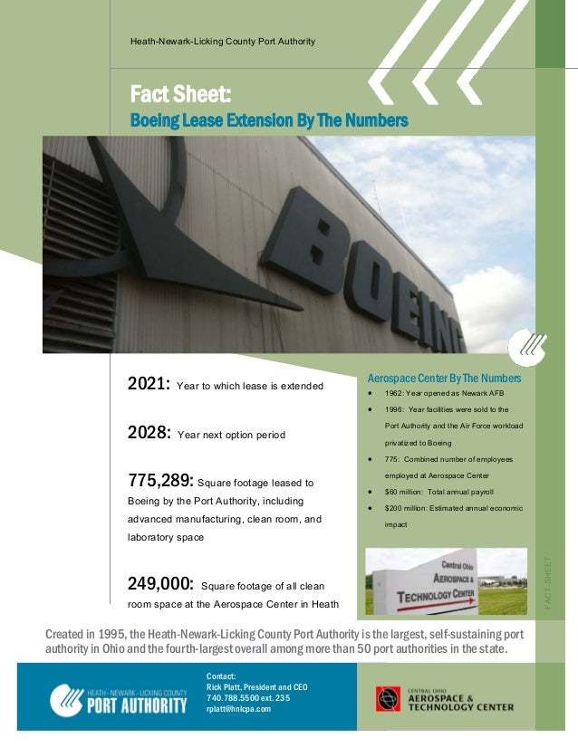 Heath-Newark-Licking County Port Authority Fact Sheet: Boeing Lease Extension By The Numbers Created in 1995, the Heath-Ne...