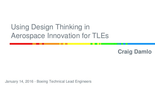 Using Design Thinking in Aerospace Innovation for TLEs Craig Damlo January 14, 2016 - Boeing Technical Lead Engineers