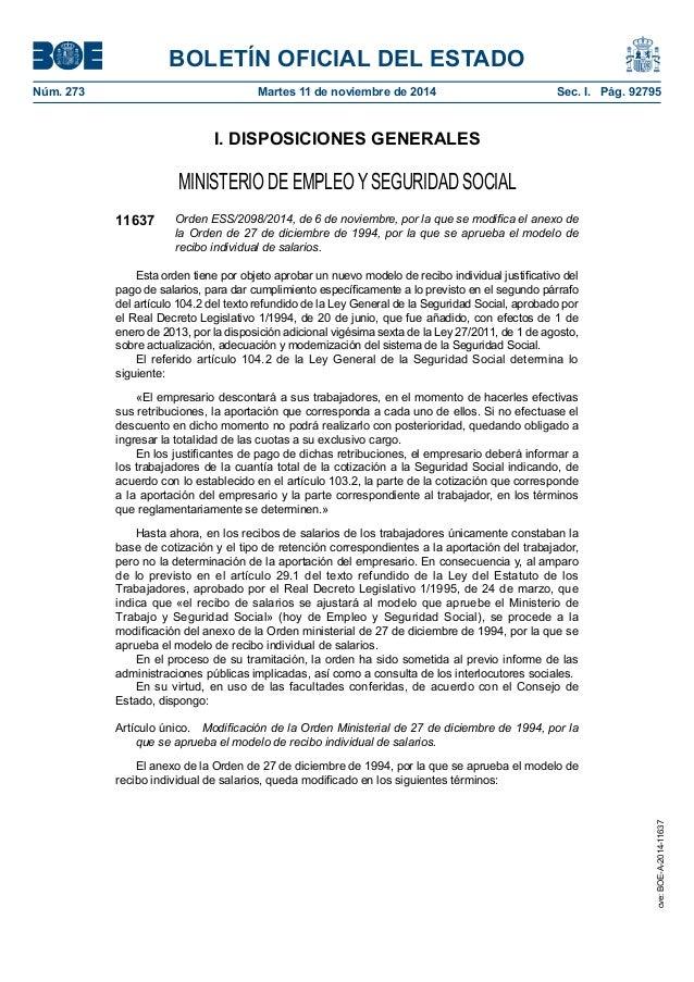 BOLETÍN OFICIAL DEL ESTADO Núm. 273 Martes 11 de noviembre de 2014 Sec. I. Pág. 92795 I. DISPOSICIONES GENERALES MINISTE...