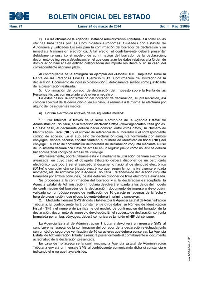 Publicados en boe modelos declaraci n renta y patrimonio 2013 - Oficinas de la agencia tributaria ...