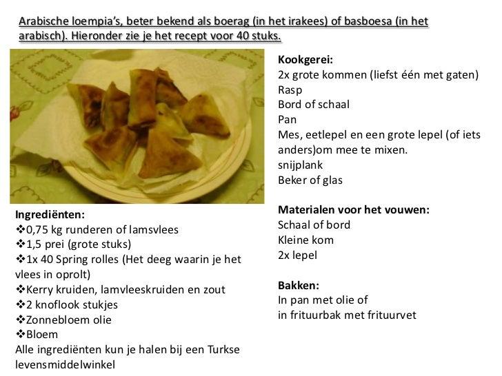Arabische loempia's, beter bekend als boerag (in het irakees) of basboesa (in het arabisch). Hieronder zie je het recept v...