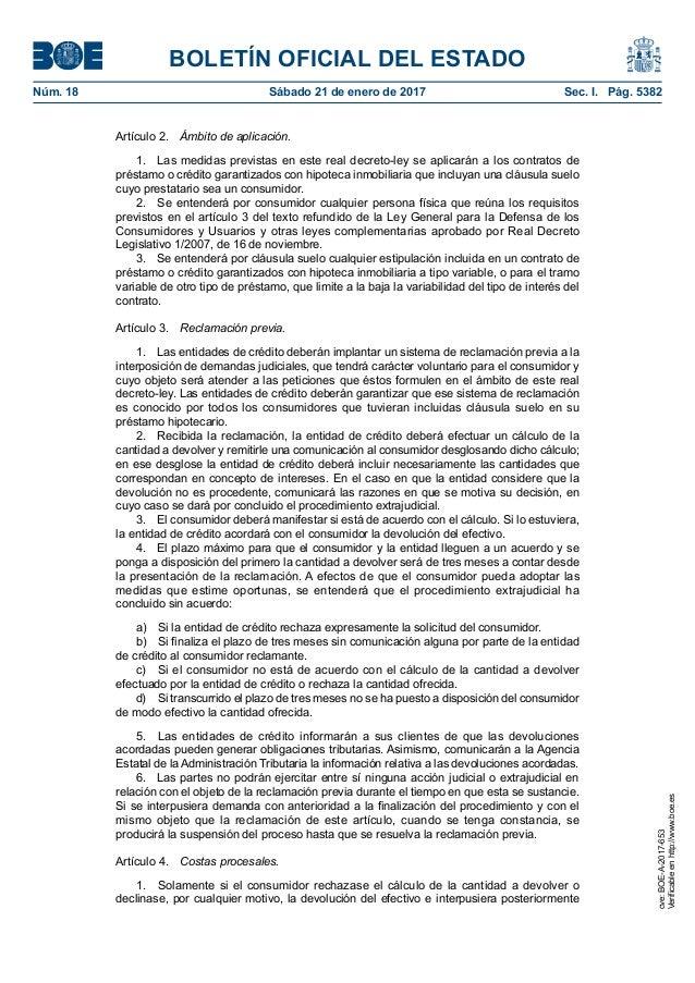 Real decreto ley 1 2017 de 20 de enero de medidas for Decreto clausula suelo