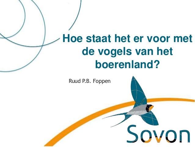 Hoe staat het er voor met de vogels van het boerenland? Ruud P.B. Foppen