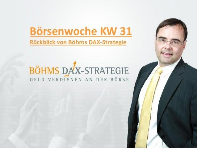 Börsenwoche KW 31 Rückblick von Böhms DAX-Strategie